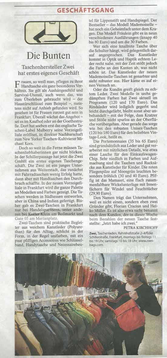 Zeitung: FAZ Rhein-Main Oktober 2014