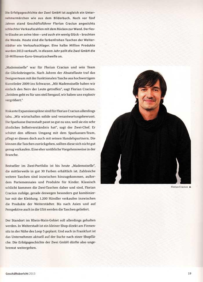 Artikel über ZWEI aus dem Sparkassen Jahresreport 2013